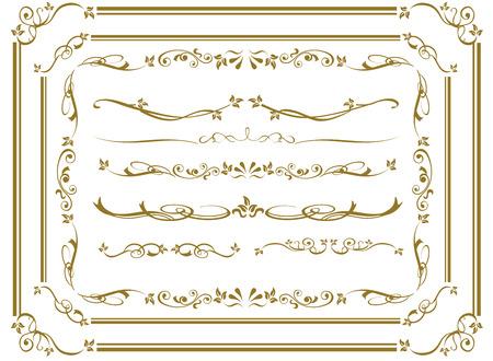 silhouette fleur: or décorative frame set Vector
