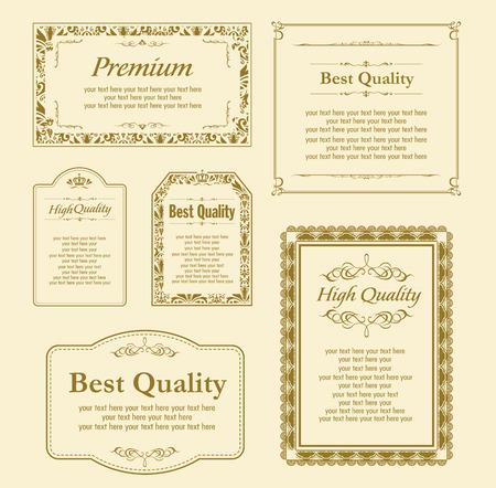De oro decorativo conjunto de marcos de vectores Foto de archivo - 47657263