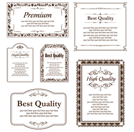 frame vintage: decorative gold frame set Vector
