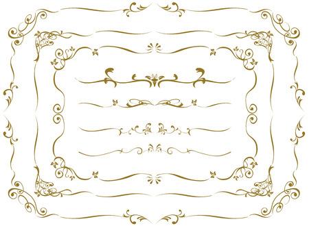 Oro decorativo frame set vettore Archivio Fotografico - 47708995