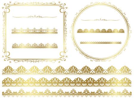 lace frame: Gold frame set Vector