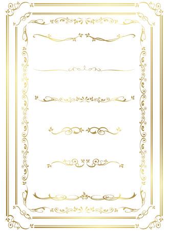 Oro decorativo frame set vettore Archivio Fotografico - 48034151