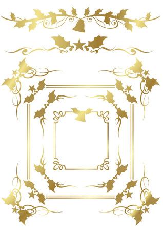 gorgeous: Christmas gold frame set Vector