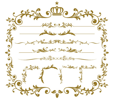 Oro decorativo frame set vettore Archivio Fotografico - 48357097