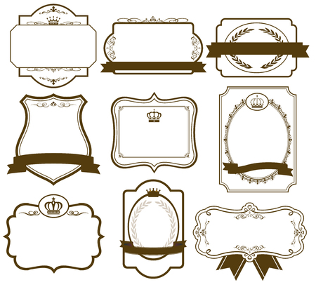 label frame: gold frame set Vector