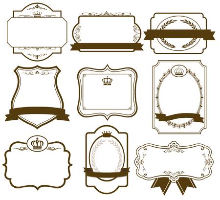 marcos redondos: oro frame set vector Vectores