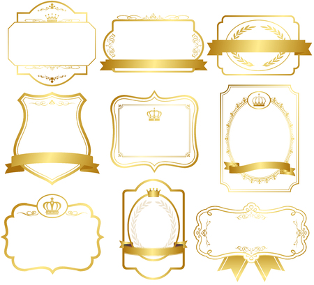 gold frame: gold frame set Vector