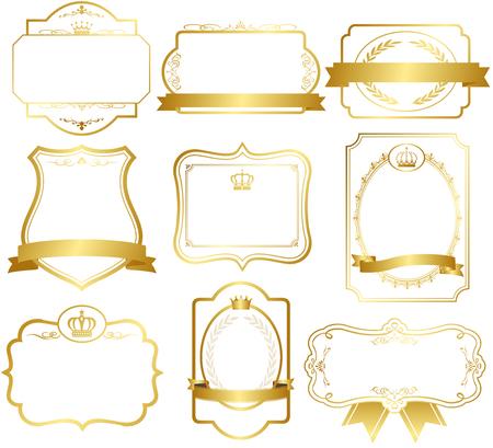 Oro frame set vector Foto de archivo - 48681472