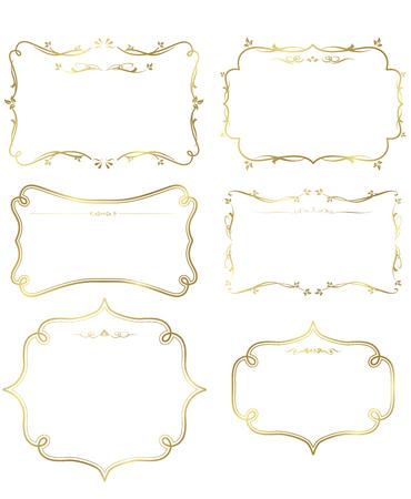 Oro frame set vector Foto de archivo - 49927479