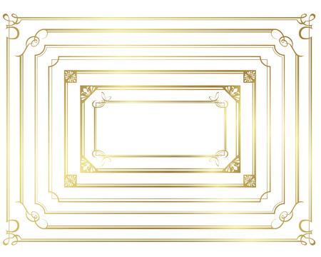 De oro decorativo conjunto de marcos de vectores Foto de archivo - 49927484