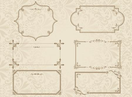 De oro decorativo conjunto de marcos de vectores Foto de archivo - 49927490