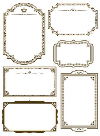 Zestaw złota dekoracyjne ramki Wektor