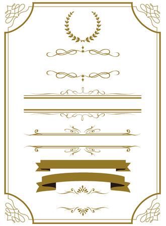 De oro decorativo conjunto de marcos de vectores Foto de archivo - 50557085