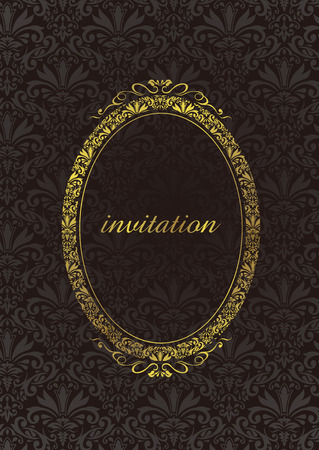 baroque background: decorative gold frame Vector