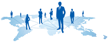 business relationship: World map Social networking service