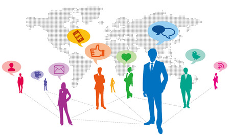 business connection: World map Social Networking Service