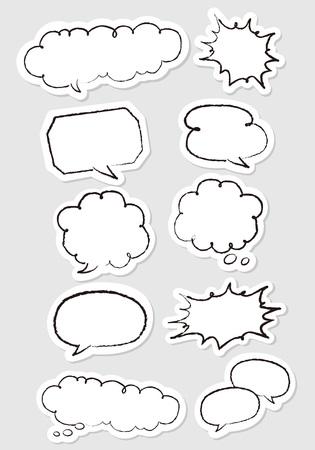Hand-drawn speech bubbles set Vector
