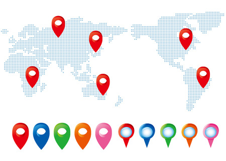 pointers: map pointers with world map set Vector