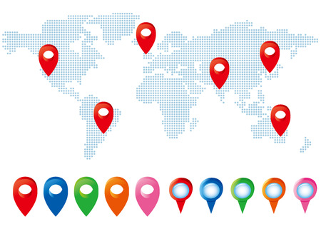 map pointers: map pointers with world map set Vector