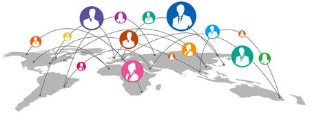 Mapa del mundo de servicios de redes sociales vector