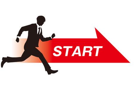 running race: business person start