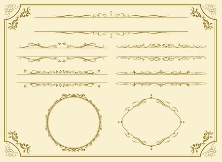 de oro decorativo conjunto de marcos de vectores
