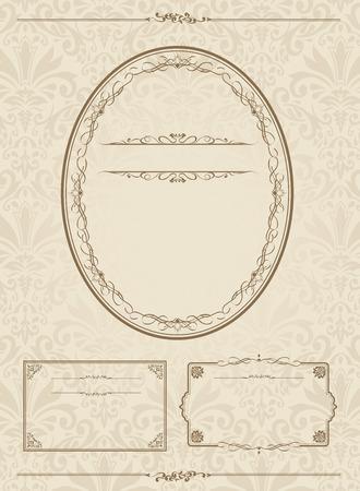 textured paper: Frame set vector illustration.
