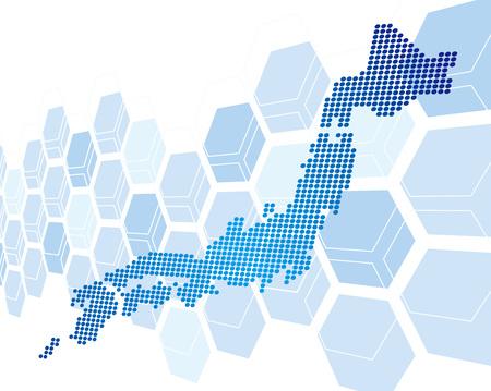 일본지도 네트워크 벡터 일러스트