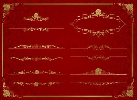 dekorativer goldener Rahmensatz Vektor