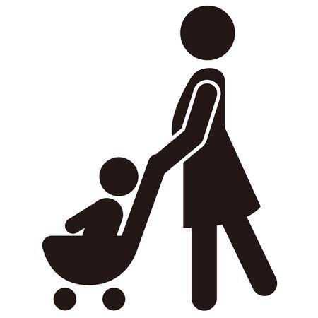 stroller icon baby push vector Vecteurs