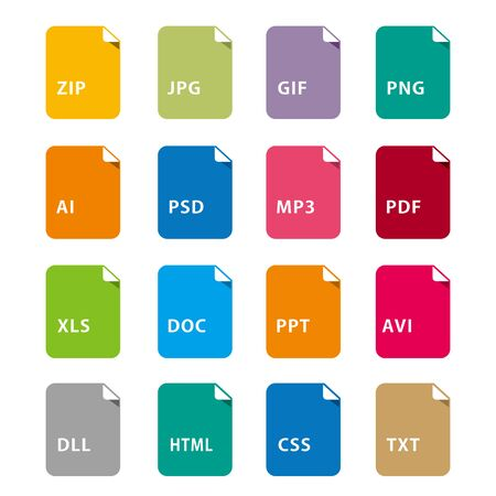 Symbol set file file icons set isolated vector  イラスト・ベクター素材