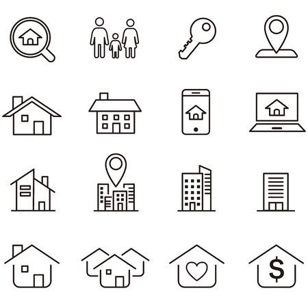 Real Estate icons collection vector Stock Illustratie