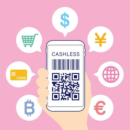 Cashless settlement with QR code Illustration