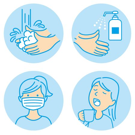 washing hands mask gargling illustration vector