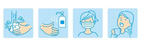 washing hands mask gargling illustration vector