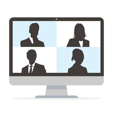 Virtual Meetings, Work from Home vector Vetores
