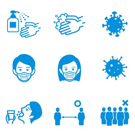 hand washing, disinfection, gargle, mask/disease prevention Icon set