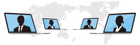 Réunions virtuelles, travail à domicile vecteur