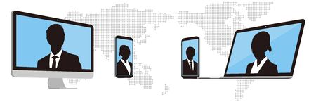 Virtual Meetings, Work from Home vector