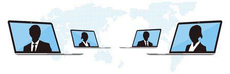 Virtual Meetings, Work from Home vector Vektoros illusztráció