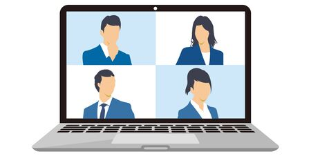 illustration of virtual Meetings image Work from Home vector