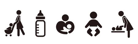 stroller icon baby push vector