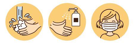 children washing hands mask gargling illustration vector