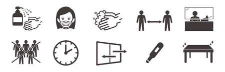 illustration of icons of coronavirus vector Vektorové ilustrace