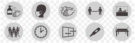 illustration of icons of coronavirus vector