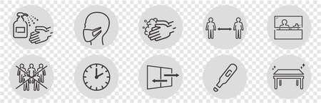 illustration of icons of coronavirus vector Illustration