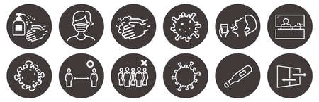 illustration of icons of coronavirus vector Stock Illustratie