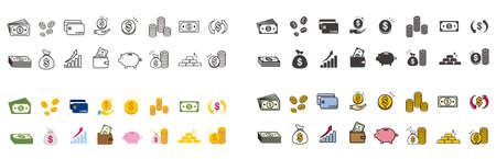 money Coin finance icons vector Illusztráció