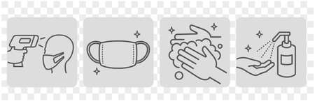 disease prevention Icon set vector Vektorové ilustrace