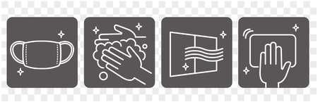 disease prevention Icon set vector